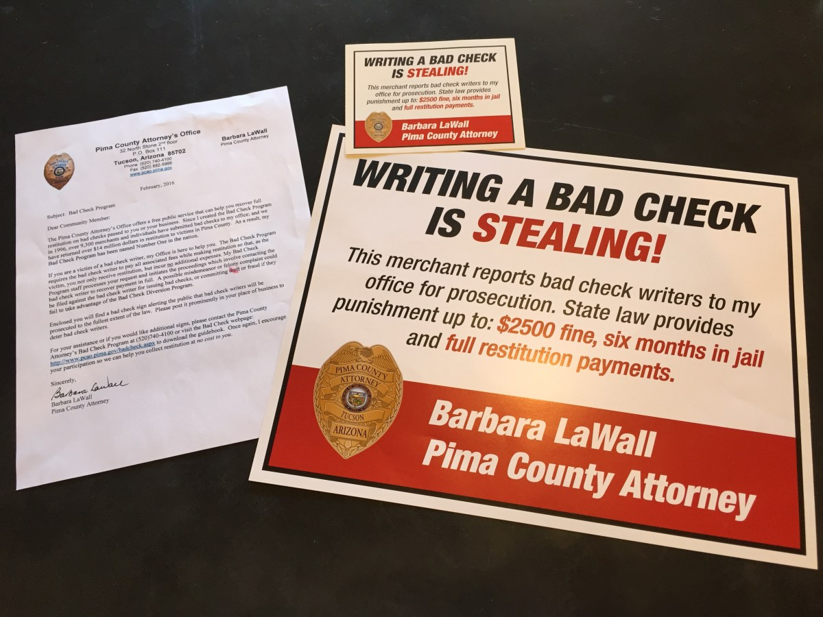 Bad check program and electioneering