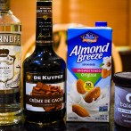 The ingredients to make our chocolate orange drink.
