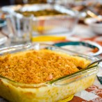 Finished corn casserole, golden brown and delicious!