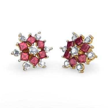 Gold Ruby Stud Earrings