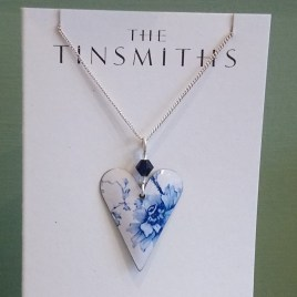 White Denim Slim Heart Necklace