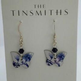 White Denim Butterfly Earrings