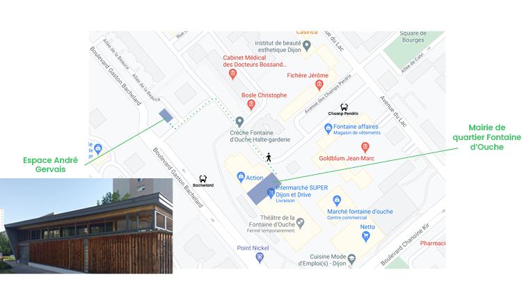 plan d'accès à l'Espace André Gervais depuis la Mairie de Quartier de la Fontaine d'Ouche