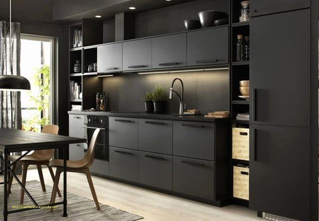Inspiring Dark Grey Kitchen Design Ideas 25
