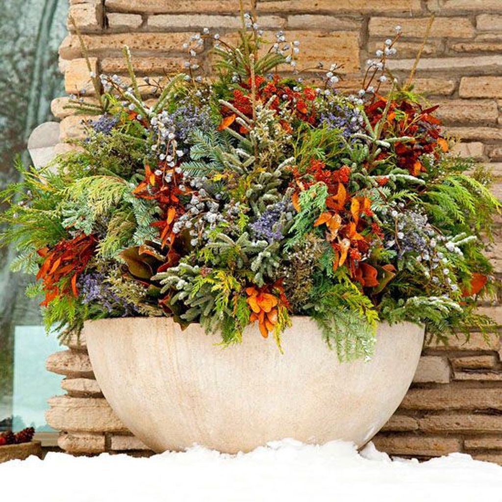 Perfect Outdoor Winter Planters Ideas 22