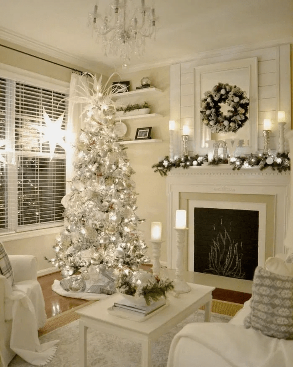 Stunning White Christmas Tree Ideas To Decorate Your Interior 19