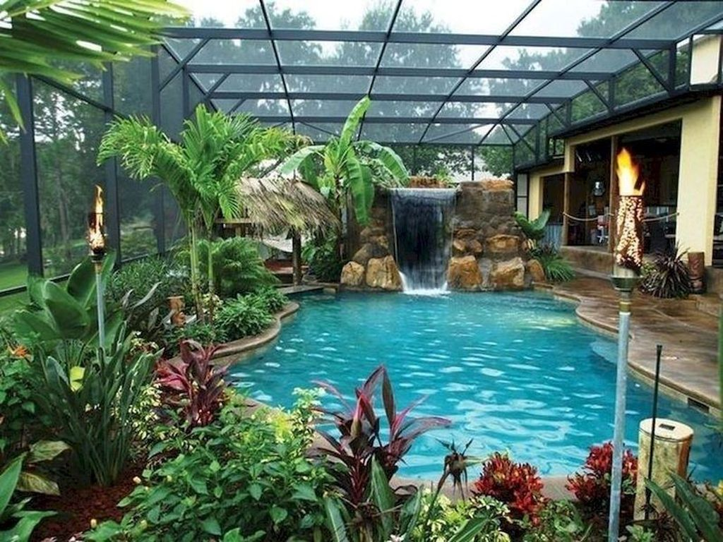 Lovely Swimming Pool Garden Ideas To Get Natural Accent 14
