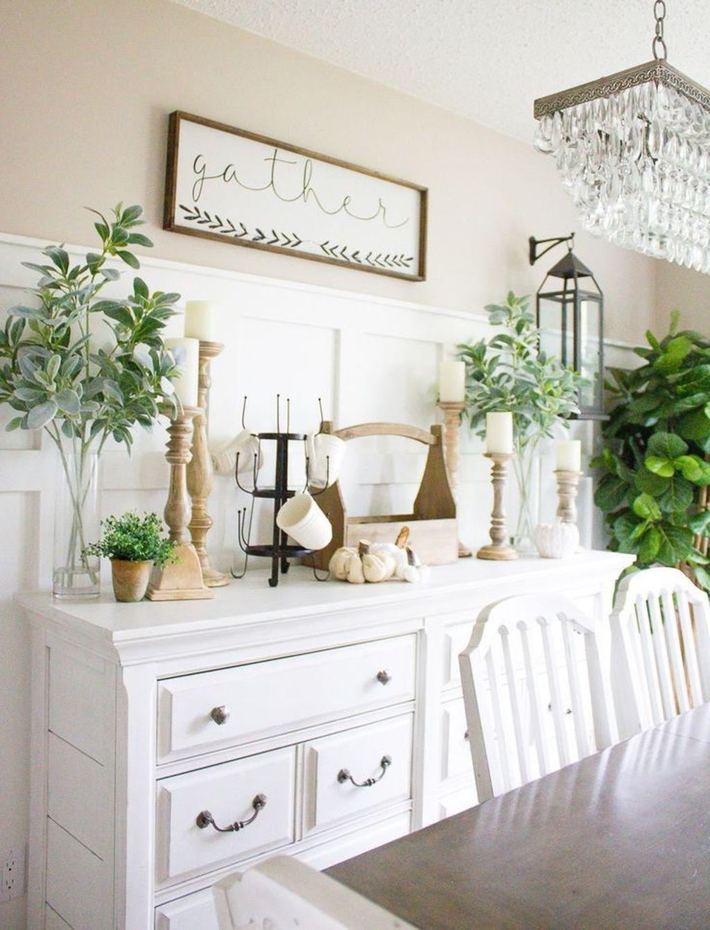 Inspiring Dining Room Buffet Decor Ideas 18