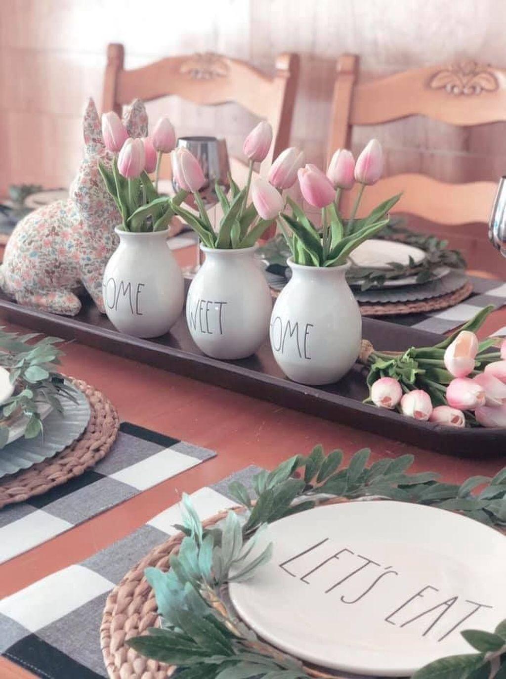 Beautiful Farmhouse Spring Table Decor Ideas 14