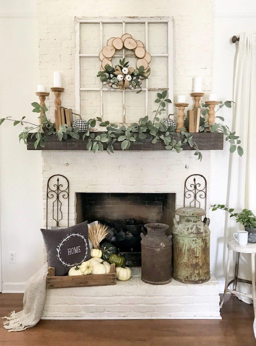 Farmhouse Fall Fireplace Decor