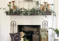 Farmhouse Fall Fireplace Decor