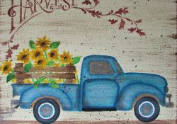 Blue Truck Fall Decor