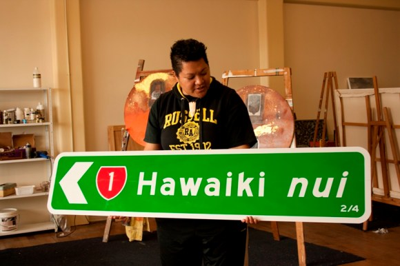"Margaret Aull with her work, ""Seek Utopia - The Way Home (series), Hawaiki nui: 2/4"" (2012)"