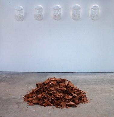 """Matakau"" (2012) installation, Totara and acrylic paint"