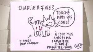 sandra duperchy sur Twitter : «Un dessin de Coco dessinatrice rescapée de l'attaque contre Charlie Hebdo. Touchée mais pas coulée. #jesuischarlie http://t.co/40R0itqrmK»