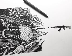 Tony Wisibility sur Twitter : «L'illustration de mon frèro @MaksimLopez en hommage à #CharlieHebdo est une tuerie ! (avec jeu de mot) #JeSuisCharlie http://t.co/kvqgHSX7Of»