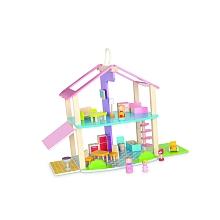 Universe of Imagination - Ma maison chalet en bois et sa famille Un joli chalet ensoleillé pour découvrir le monde merveilleux des maisons de poupées !La famille composée de 3 figurines