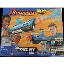 Xploderz -2 pistolets X2 Face Off 150 2 pistolets X blaster distance de tir jusqu'à 15 m avec 2 chargeurs contenant chacun 75 munitions Xploderz prêtes pour le tir