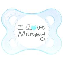 toys' r us 2 sucettes MAM 1er âge + boîte stérilisable - I love Mummy + coeur bleu