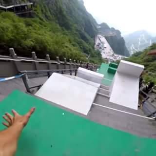 parcours de ouf dans des escaliers en chine