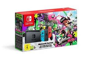 Console Nintendo Switch avec Joy-Con – rouge néon/bleu néon + Splatoon 2 – Idée cadeau Noël