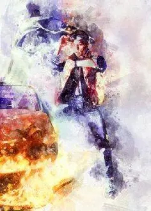 One of my favorite time travel movies - Back to the Future.  This shows a beautiful picture of Marty McFly next to the time machine.