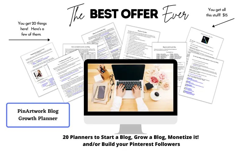 PinArtwork Blog Growth Planner - a $15 comprehensive planner to Start a Blog, Grow a Blog, Monetize it! and/or Build your Pinterest Followers.