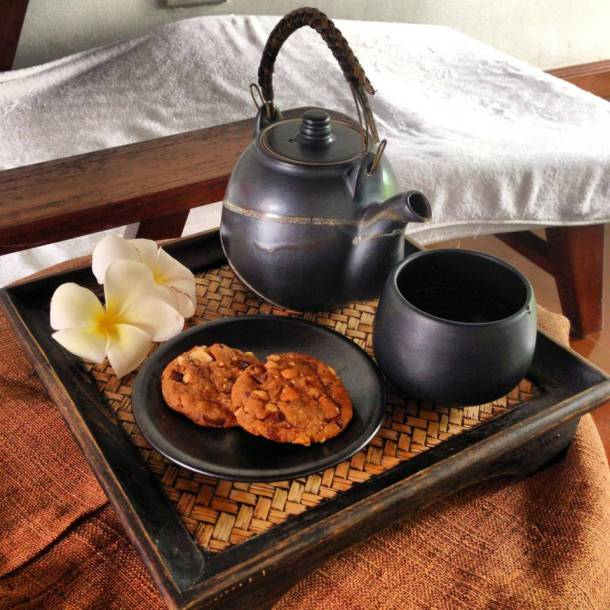 Tea and biscuits offered after the massage at SoSpa! in Sofitel Phokeethra Krabi Golf and Spa Resort