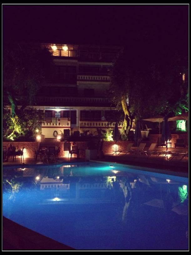 Valtos Beach Hotel at night