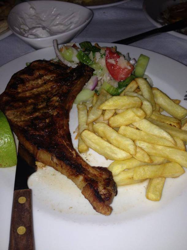 Pork Chop at Flisvos Restaurant in Parga.