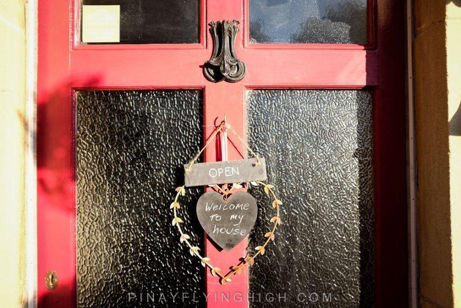 Front door of Fosse Farmhouse in CAstle Combe.