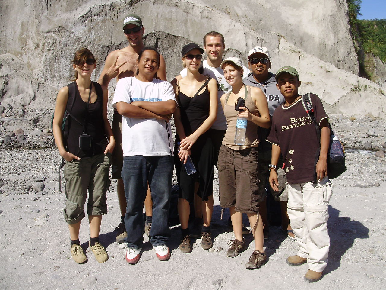 Hub (in white shirt) with Wisnu and Mt. Pinatubo trekkers