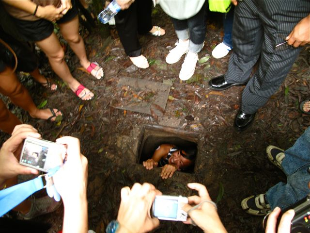Pinay Traveller checking out the Cuchi Tunnels in Siagon.
