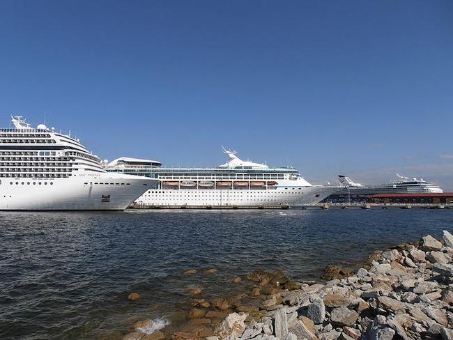 Cruise ships docked in Talinn Passenger Port in Estonia. Photo by  Pjotr Mahhonin via Wikimedia Commons.