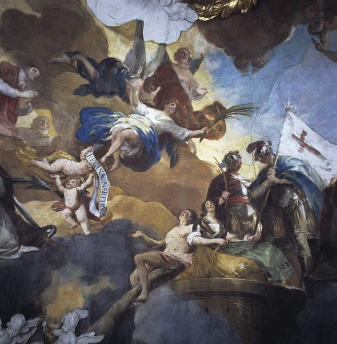Detail of the fresco of The Queen of Martyrs in the dome, painted by Francisco Goya, via Wikimedia Commons