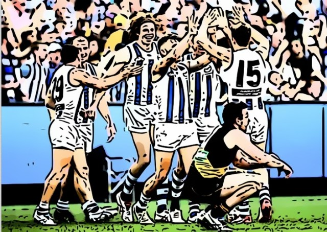 North Melbourne celebrate their 2015 Elimination Final victory over Richmond. One of The Pinch Hitters Top Five Kangaroos Victories of the 21st Century.