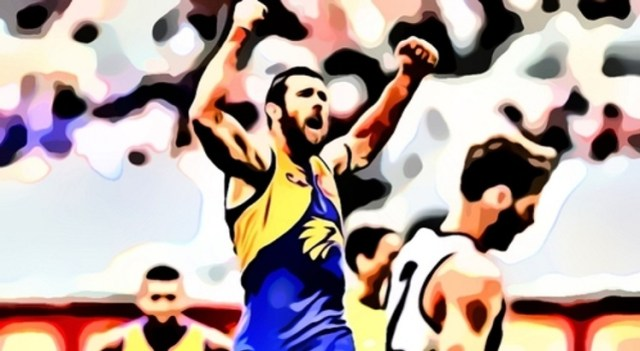 Josh Kennedy celebrates one of his seven goals v Collingwood. The Eagles are back was one of the things The Pinch Hitters Learned, Liked or Disliked from Round Eight 2020.