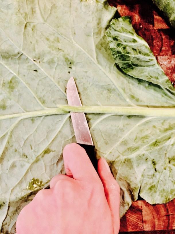 Cutting stem off collard green