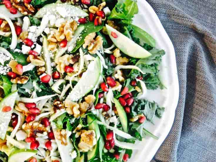 Easy, hearty, healthy fall salad with the most incredible Mustard Vinaigrette!  Ready in 15 minutes or less! #fallsalad, #appleandfennel, #babykale, #15minuterecipe