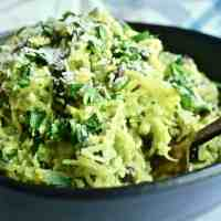 Corn Pesto and Black Bean Spaghetti Squash