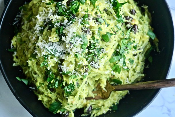 Corn Pesto and Black Bean Spaghetti Squash