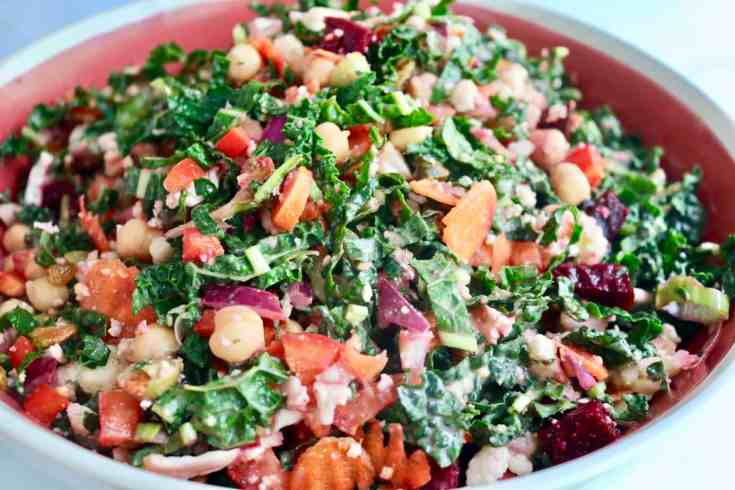 Incredible summer time Detox Power Salad packed full of protein and key nutrients our bodies need to give us power and detox our bodies. Kale, cauliflower, beets, chickpeas and a delicious homemade tahini dressing!  #detoxkalesalad, #tahinidressing, #vegansalad
