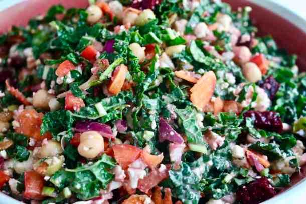 Kale veggie salad in large bowl