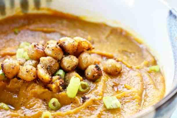 Large bowl of pumpkin butternut squash soup