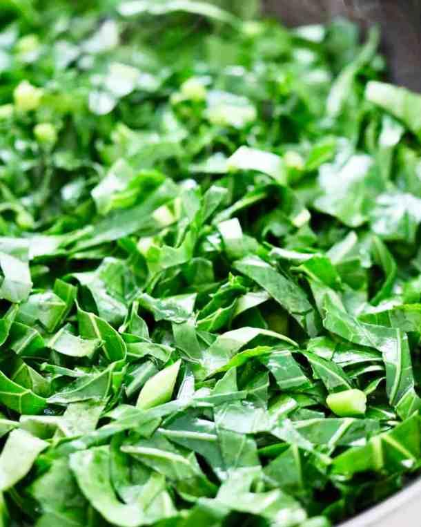 Sauted collard greens in pan