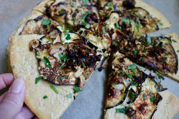 Slice of veggie socca pizza