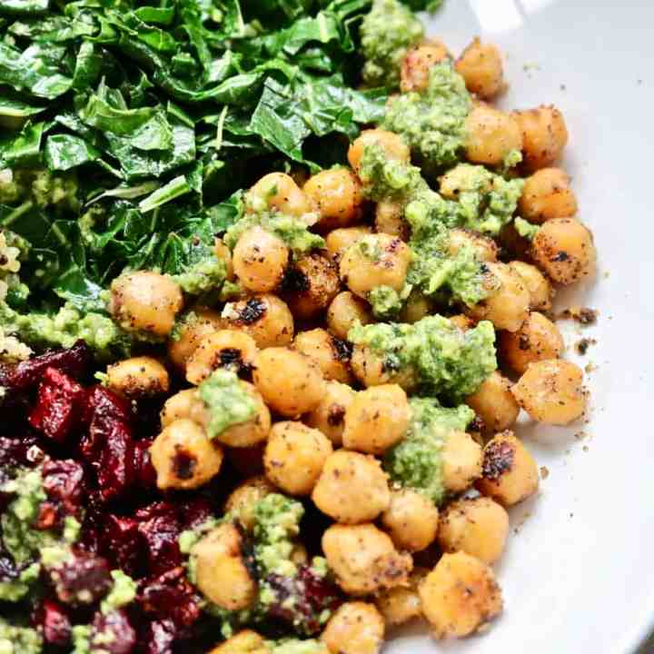 Roasted Chickpeas, Beets and Greens Buddha Bowl