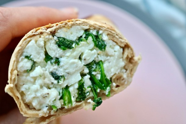 Cut side of an egg white wrap