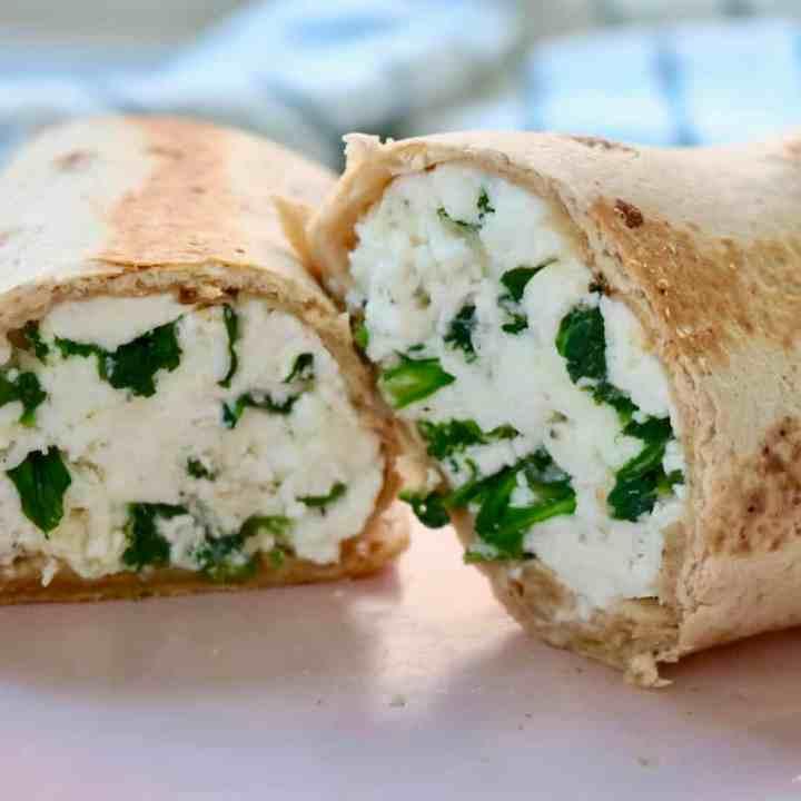 Egg White Spinach Feta Wraps