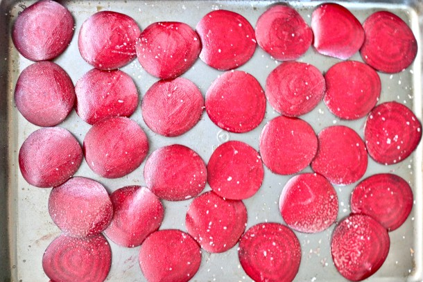 Sliced beets on a baking sheet